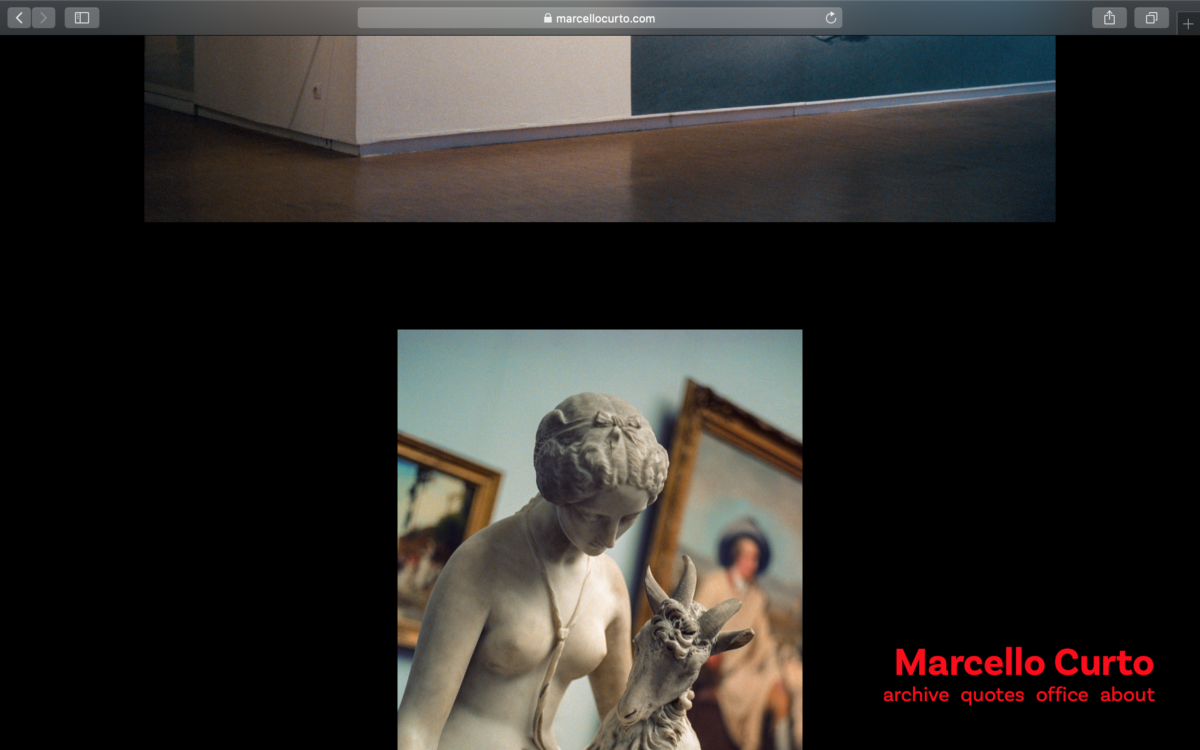 Marcello's website in dark mode