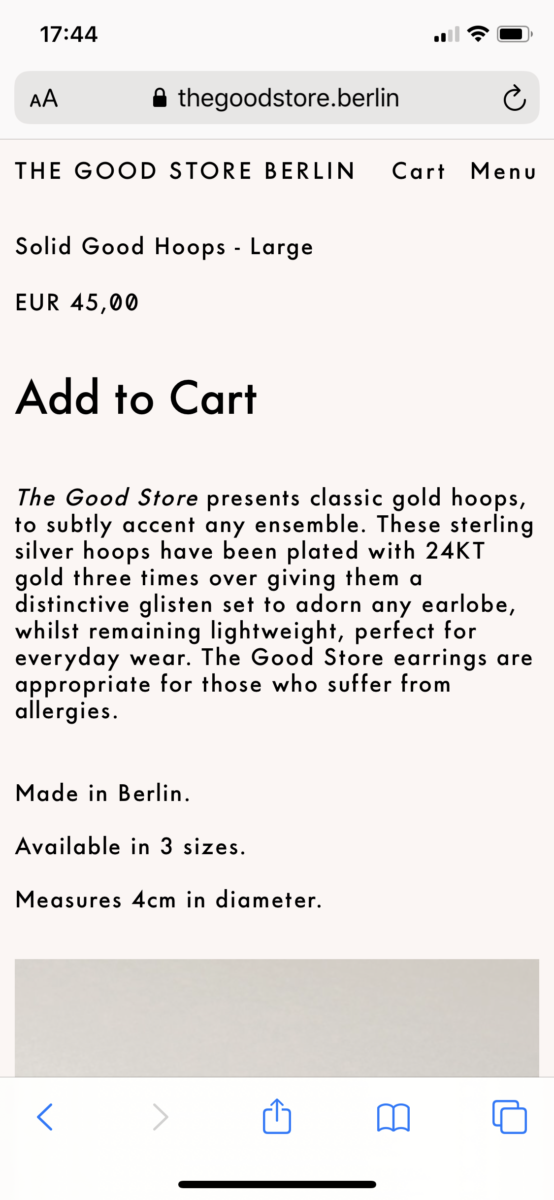 The Good Store Mobile Product Page