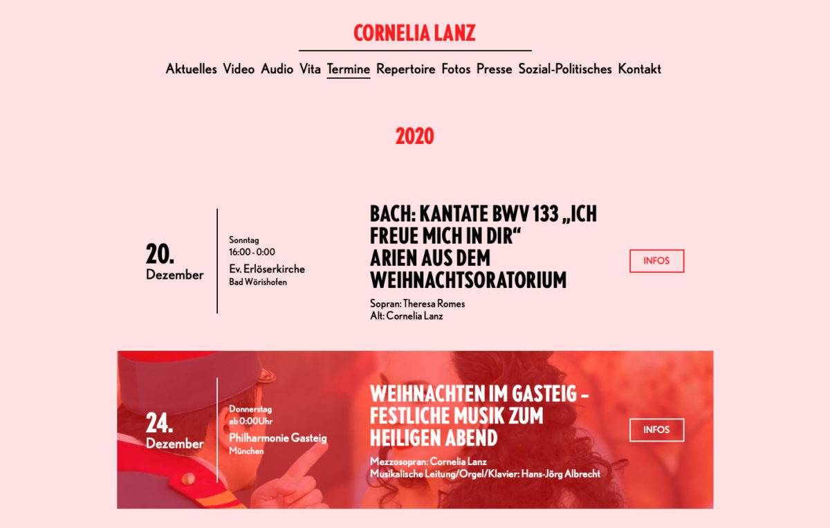 The events section of Cornelia Lanz's Website